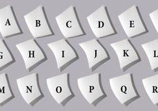 Collage abstrait des feuilles de papier avec les lettres de l'alphabet anglais illustration stock