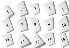 Collage abstrait des feuilles de papier avec des nombres sur un fond blanc illustration stock
