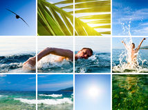 Collage of active fun. By sea royalty free stock image