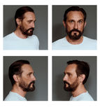 Collage of an actor showing different emotions. Mid aged beardy male posing on grey background Royalty Free Stock Photography