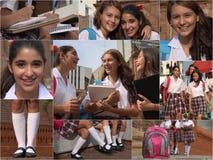 Collage adolescente femenino de los estudiantes Imagenes de archivo