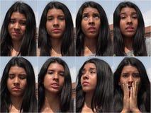 Collage adolescente femenino decepcionado infeliz Imagenes de archivo
