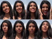 Collage adolescente femenino feliz e infeliz Fotografía de archivo