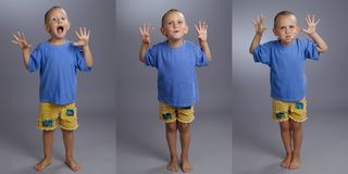 Collage of adorable kid in studio Stock Images
