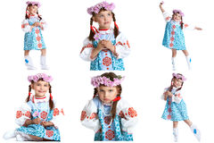Collage of adorable little dancer in folk dress Stock Images