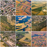 Collage of aerial views of Paris region Royalty Free Stock Photos