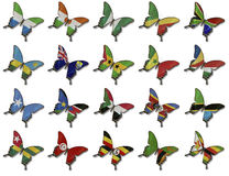 Collage from African flags on butterflies Stock Image