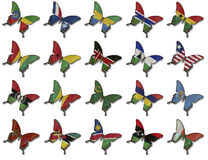 Collage from African flags on butterflies Stock Photos