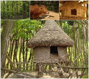 Collage with african house Stock Images