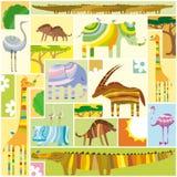 Collage africano de Tetris de los animales stock de ilustración