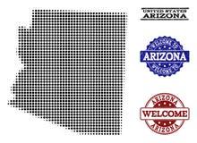 Collage agradable del mapa de semitono de los sellos del estado y de la desolación de Arizona stock de ilustración
