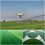 Collage of agricultural works shoot from drone Stock Photo