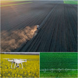 Collage of agricultural works shoot from drone Stock Photography