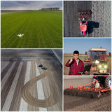 Collage of agricultural works shoot from drone Royalty Free Stock Image