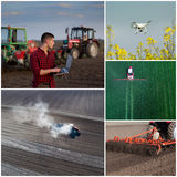Collage of agricultural works shoot from drone royalty free stock images