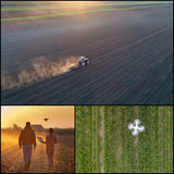 Collage of agricultural works shoot from drone Royalty Free Stock Photography