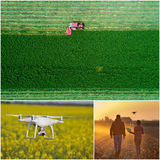Collage of agricultural works shoot from drone Stock Photos