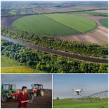 Collage of agricultural works shoot from drone Stock Image