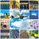 Collage of airport and airplane photos Stock Image