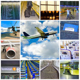 Collage of airport and airplane photos Stock Images