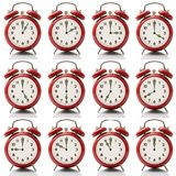 Collage alarm clock at every hour on white background Stock Images