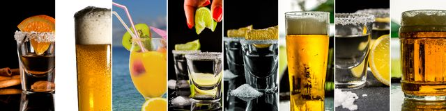 Collage of alcohol drinks. Show tequila with lemon, gold tequila with orange, cold beer and tropical alcohol drink with fruits stock image