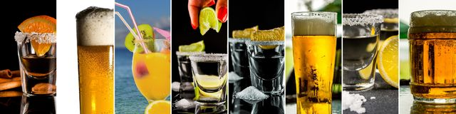 Collage of alcohol drinks. Show tequila with lemon, gold tequila with orange, cold beer and tropical alcohol drink with fruits stock photos