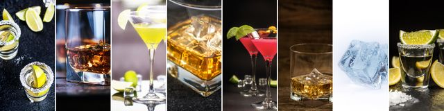 Collage of alcohol drinks. Show tequila with lemon and lime, whiskey or bourbon , Cosmopolitan and Daiquiri, and ice cube stock images