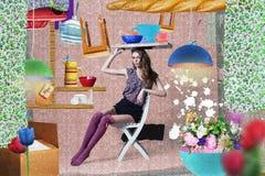 Collage alla moda con la giovane donna Immagini Stock Libere da Diritti