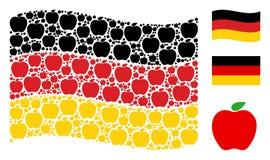 Collage allemand de ondulation de drapeau des articles d'Apple Illustration Libre de Droits
