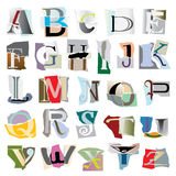 Collage alphabet. Letters based on ripped paper Royalty Free Stock Image