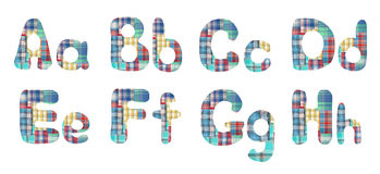 Collage alphabet letters A, B, C, D, E, F, G, H Stock Photo