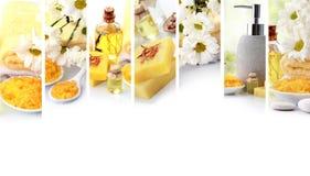collage amarillo del concepto del balneario objetos del balneario del jabón y de los essensials Imagen de archivo libre de regalías