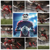 The collage about american football players Stock Photography
