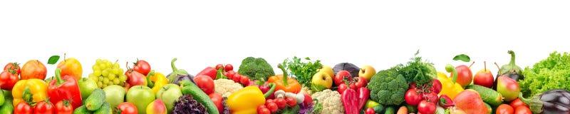 Collage ancho de las frutas y verduras frescas para la disposición aislada foto de archivo