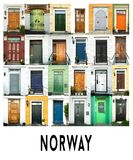 24 colorful doors in Norway. A collage of ancient doors from Bergen in Norway, presented in a white border with the city name Norway Stock Photo