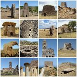 Collage with ancient heritage of Sardinia. Collage with ancient landmarks of mediterranean cultural heritage of Sardinia in Italy, Europe royalty free stock photos