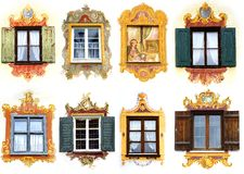 Collage of the ancient unique window. Oberammergau Stock Images