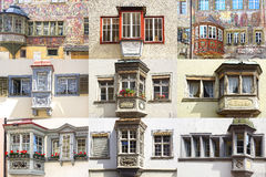 Collage of the ancient unique windows Royalty Free Stock Photos