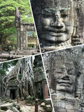 Collage of Angkor Wat ( Cambodia ) images - travel background (m Royalty Free Stock Photos