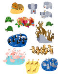 Collage animale illustrato Immagine Stock