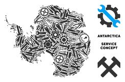 Collage Antarctica Map of Service Tools. Repair service Antarctica map mosaic of tools. Abstract territorial plan in gray color. Vector Antarctica map is created vector illustration