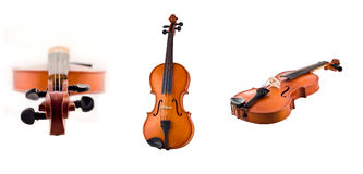 Collage of Antique violin views isolated Stock Images