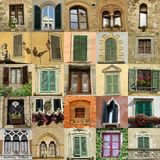 Collage with antique windows in Italy Royalty Free Stock Photos