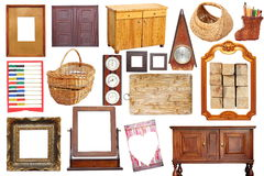 Collage with antique wood objects. Collage with antique wooden  objects isolated over white background Royalty Free Stock Image
