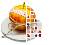 Collage of apple surrounding of measuring tape tied with twine a Royalty Free Stock Image