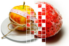 Collage of apple surrounding of measuring tape tied with twine a Stock Photos