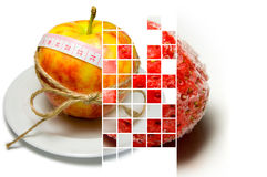Collage of apple surrounding of measuring tape tied with twine a Royalty Free Stock Photography