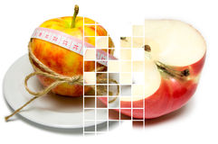 Collage of apple surrounding of measuring tape tied with twine a Royalty Free Stock Images