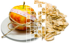 Collage of apple surrounding of measuring tape tied with twine a Stock Images